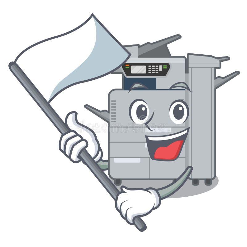 使用旗子在字符椅子旁边的影印机机器 皇族释放例证