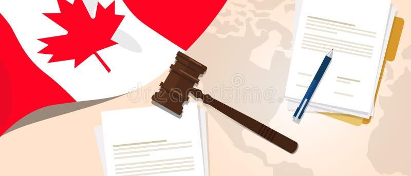 使用旗子惊堂木纸和笔的加拿大法律宪法法律评断正义立法试验概念 库存例证