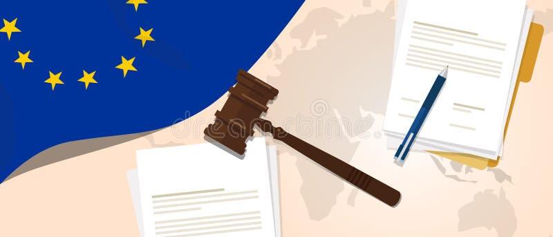 使用旗子惊堂木纸和笔的欧洲联合欧盟法律宪法法律评断正义立法试验概念 皇族释放例证