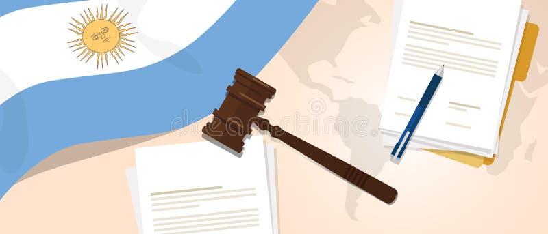 使用旗子惊堂木纸和笔的阿根廷法律宪法法律评断正义立法试验概念 库存例证