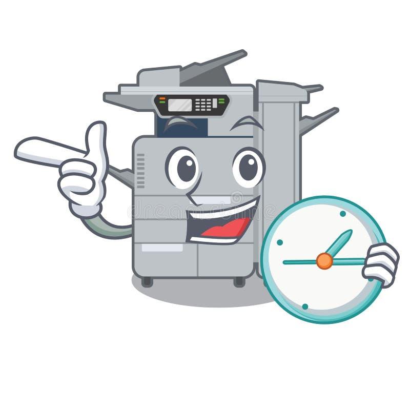 使用时钟在动画片隔绝的影印机机器 向量例证