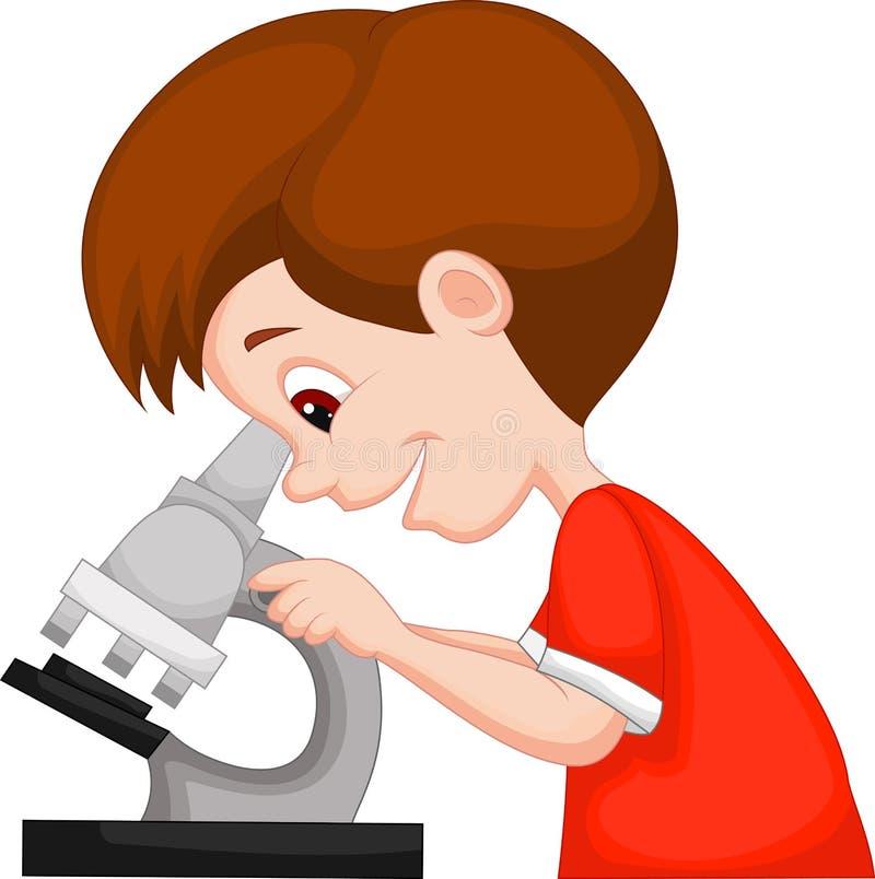 使用显微镜的年轻男孩动画片 向量例证