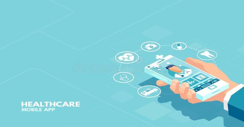 使用智能手机应用的患者的传染媒介在网上联络与专业医生 库存例证