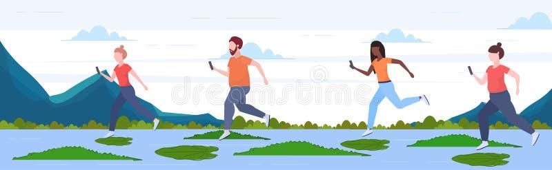 使用智能手机的人们跳过在河的莲花叶子鳄鱼风险和数字危险决断力 库存例证