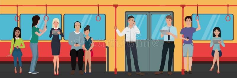 使用智能手机的人们在地铁公共交通工具打电话 库存例证