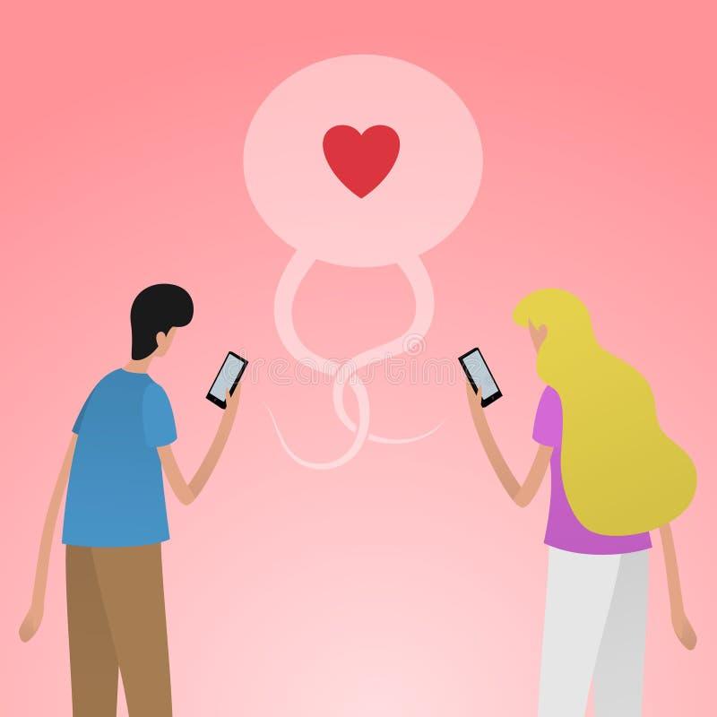 使用智能手机的年轻夫妇约会的在社会媒介 皇族释放例证