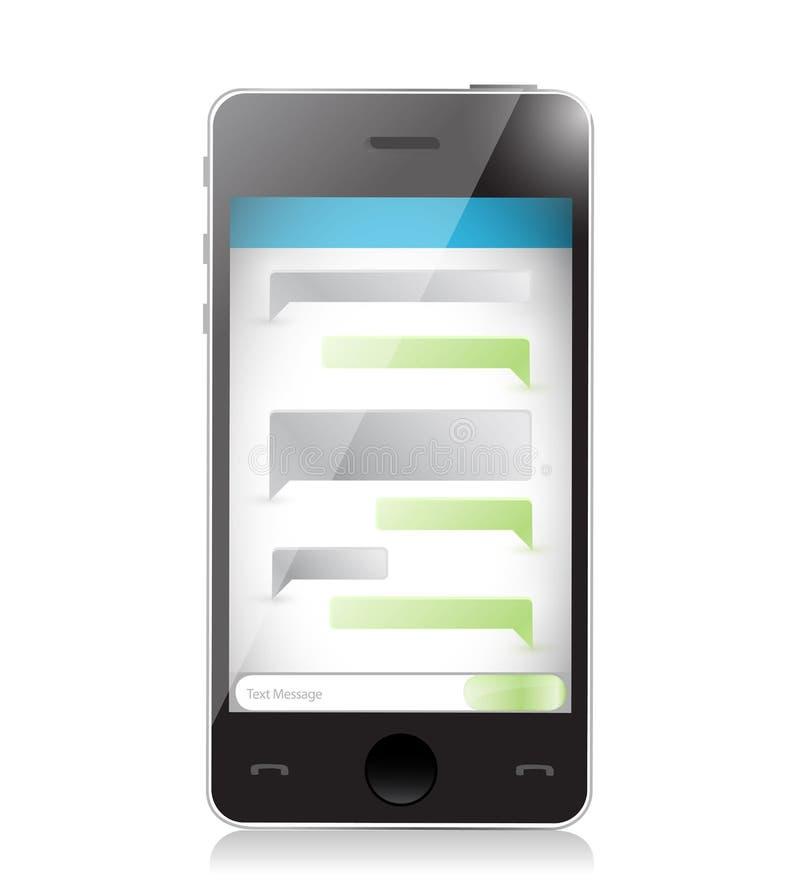 使用智能手机的正文消息通信。 库存例证