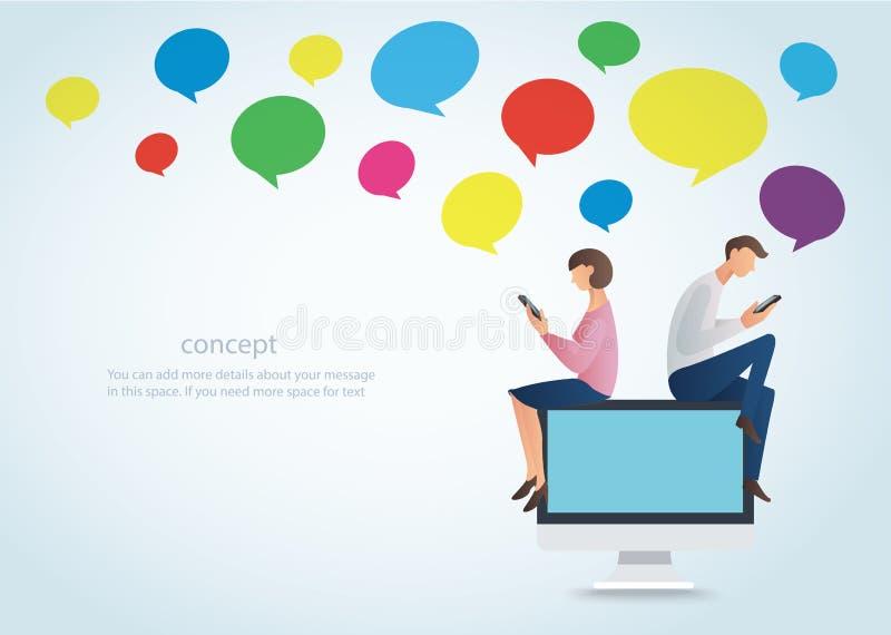 使用智能手机的男人和妇女和在网上坐有五颜六色的闲谈箱子的,爱的概念计算机 皇族释放例证