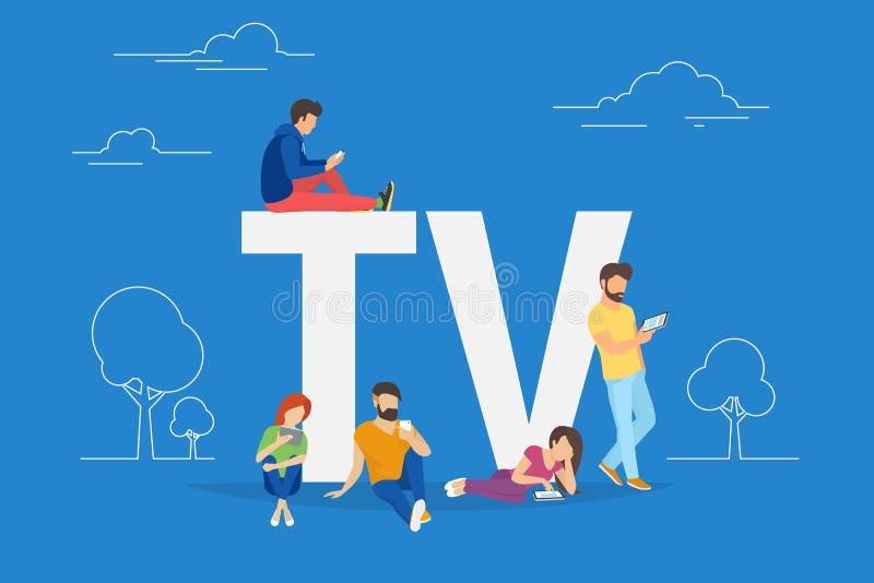 使用智能手机的青年人的流动电视概念例证为看电视 库存例证