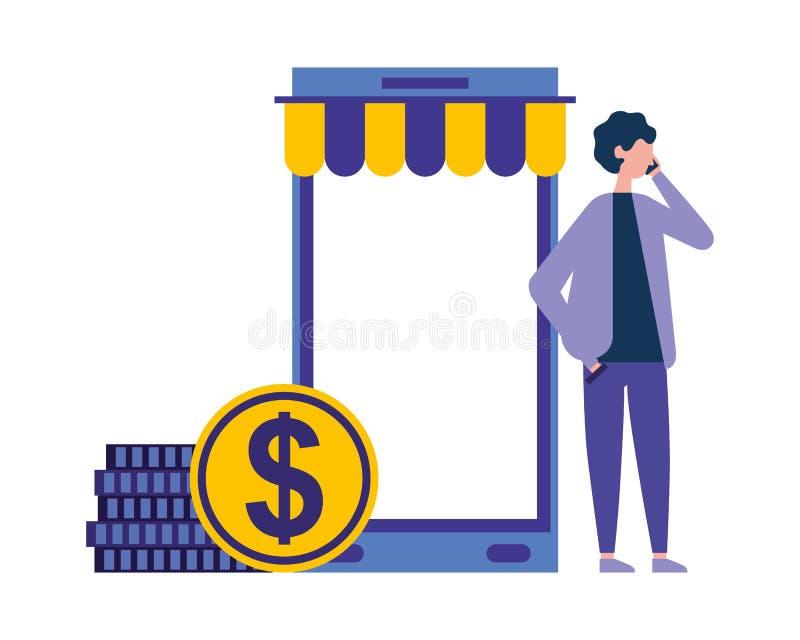 使用智能手机硬币金钱网络购物的人 库存例证