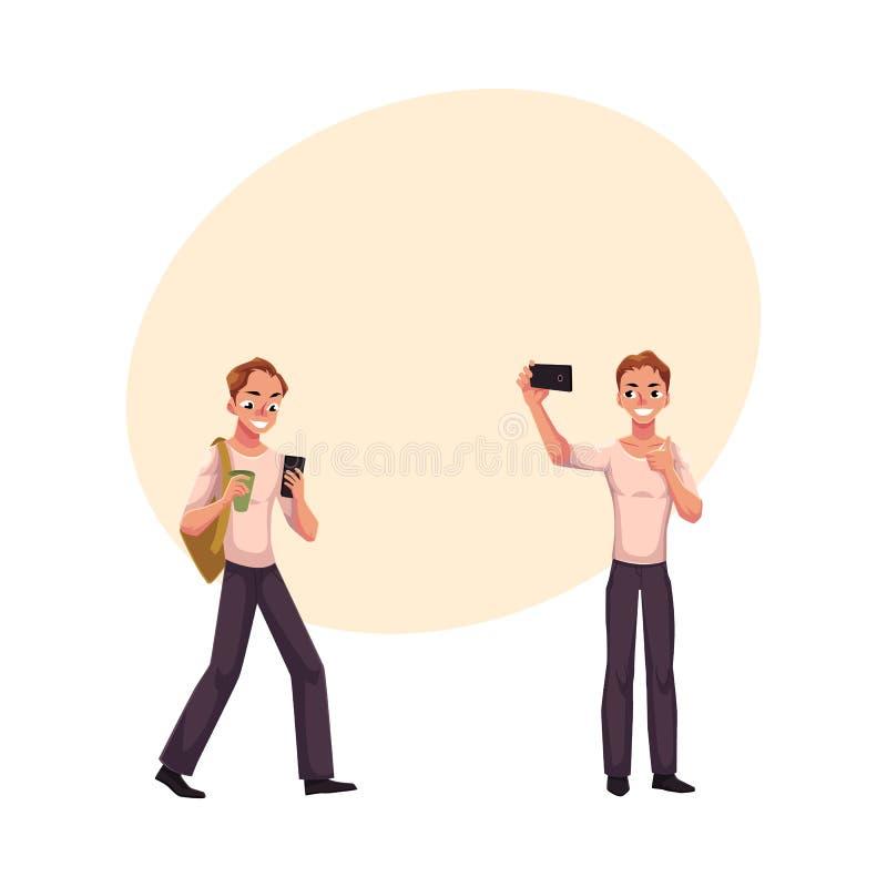 使用智能手机走的年轻人,做与手机的selfie 皇族释放例证