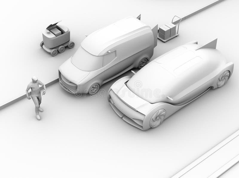 使用智能手机,刹车汽车紧急状态黏土的翻译避免与步行者的事故  库存例证