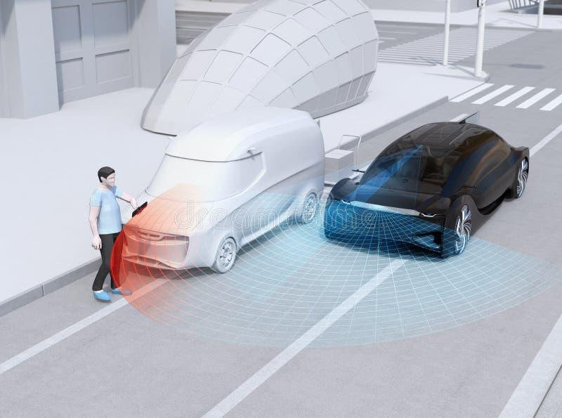 使用智能手机,刹车黑汽车的紧急状态避免与步行者的交通事故  皇族释放例证