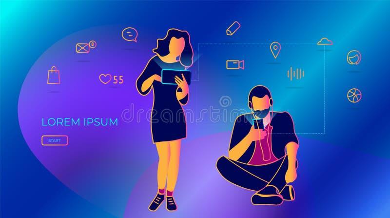 使用智能手机,年轻人写消息 人脉的传染媒介例证,传送电子邮件和短信 库存例证