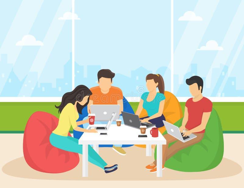 使用智能手机,膝上型计算机坐在屋子里和工作的小组创造性的人民 向量例证