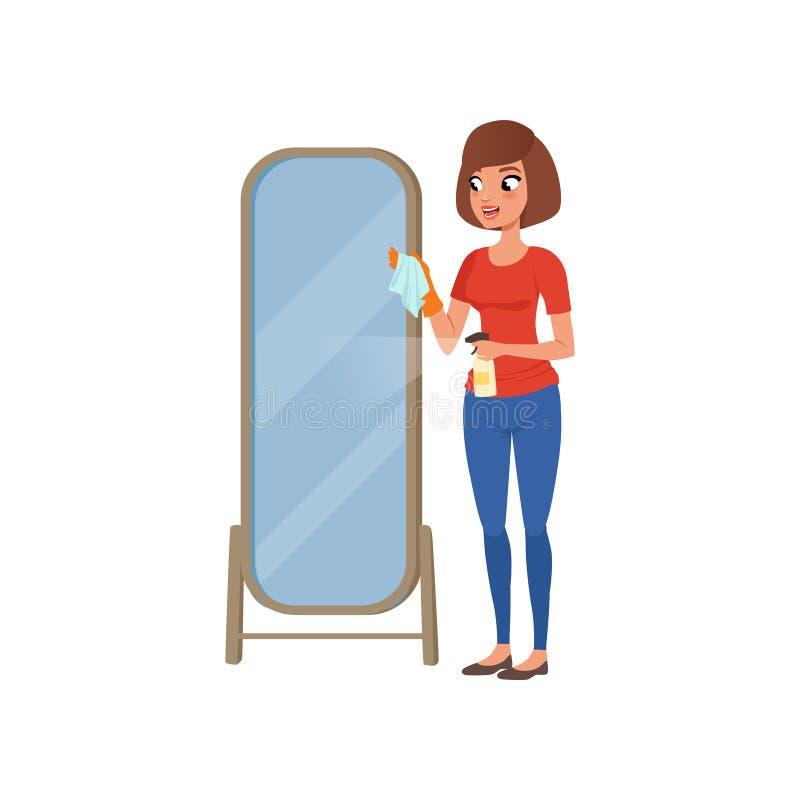 使用更加干净的喷雾器的年轻深色的妇女清洁镜子,家庭清洁和家庭作业导航在白色的例证 皇族释放例证
