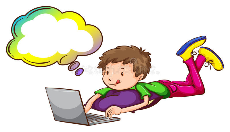 使用有空的呼出的男孩膝上型计算机 库存例证