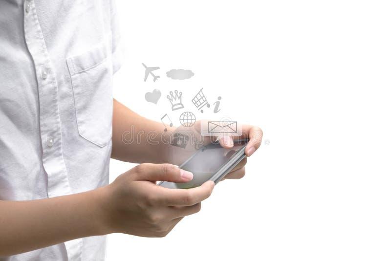 使用有象消息的青年人手机被隔绝 库存照片