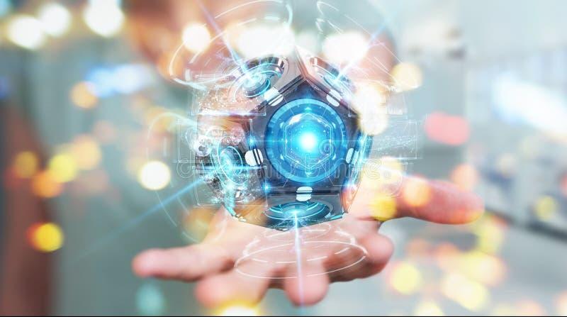 使用未来派寄生虫安全监控相机3D renderin的女实业家 向量例证