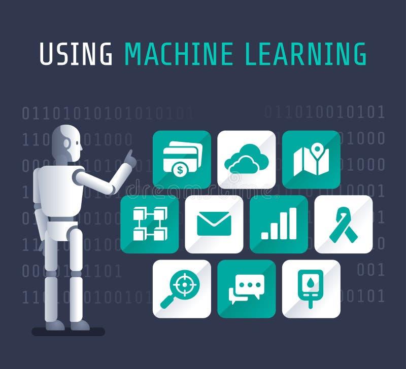 使用机器人为学习的平的传染媒介说明 皇族释放例证