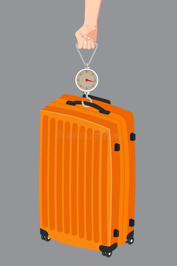 使用杆秤重量的手提行李测量的例证 向量例证