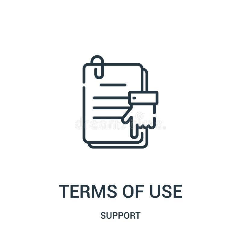 使用条款从支持汇集的象传染媒介 稀薄的线使用条款概述象传染媒介例证 线性标志为使用 皇族释放例证
