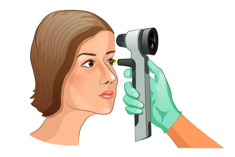 使用检眼计的基底考试 库存例证
