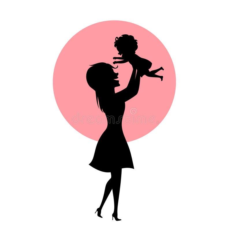 使用母亲和小的女儿,举孩子在天空中,剪影传染媒介例证的妈妈.