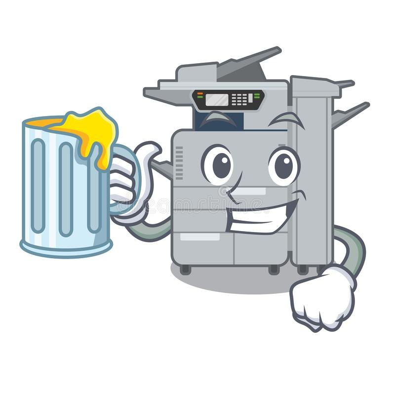 使用汁液在吉祥人木桌上的影印机机器 皇族释放例证