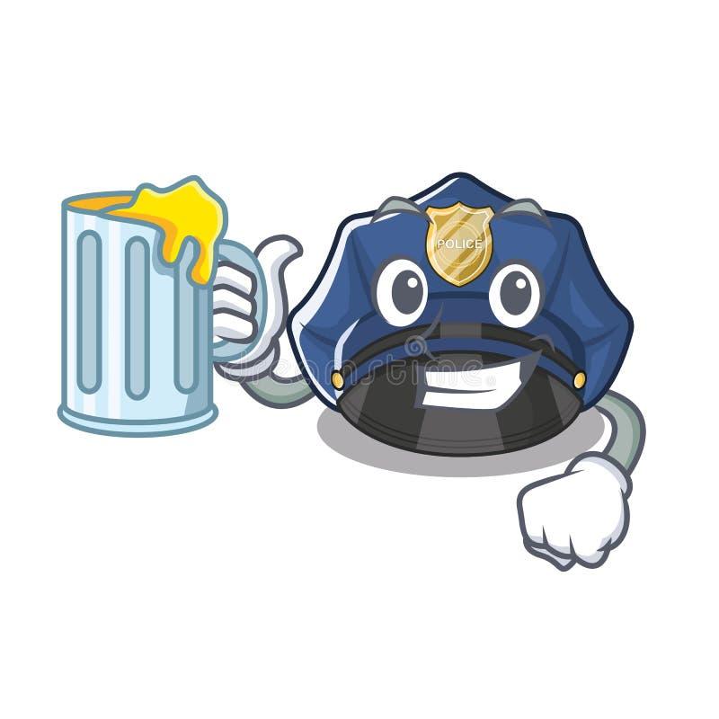 使用汁液警察帽子在动画片碗柜 皇族释放例证