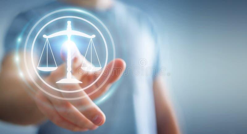 使用法律保护权利3D翻译的商人 向量例证