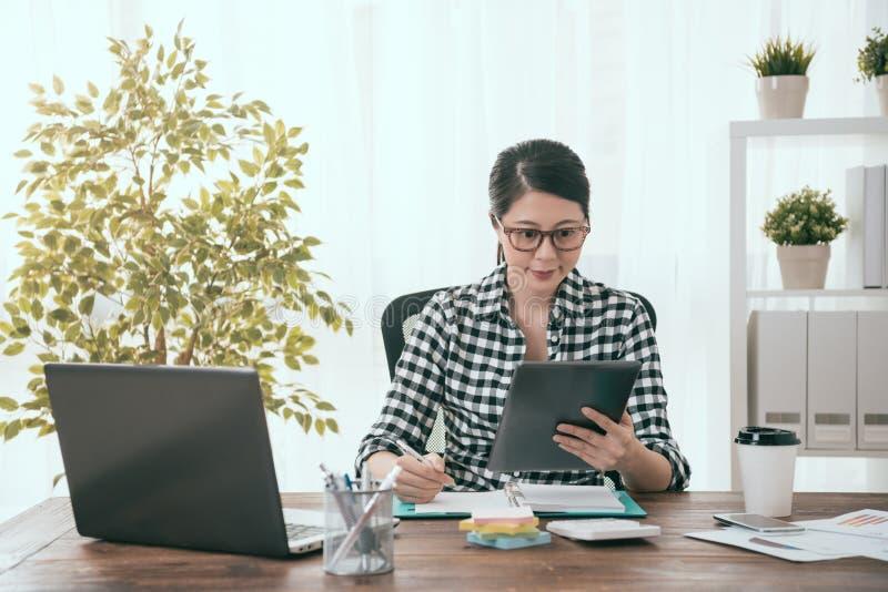 使用流动垫的专业企业soho妇女 库存图片