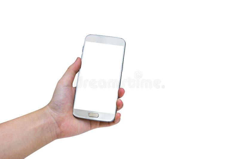 使用流动巧妙的电话的妇女隔绝在白色背景,夹子 免版税库存照片