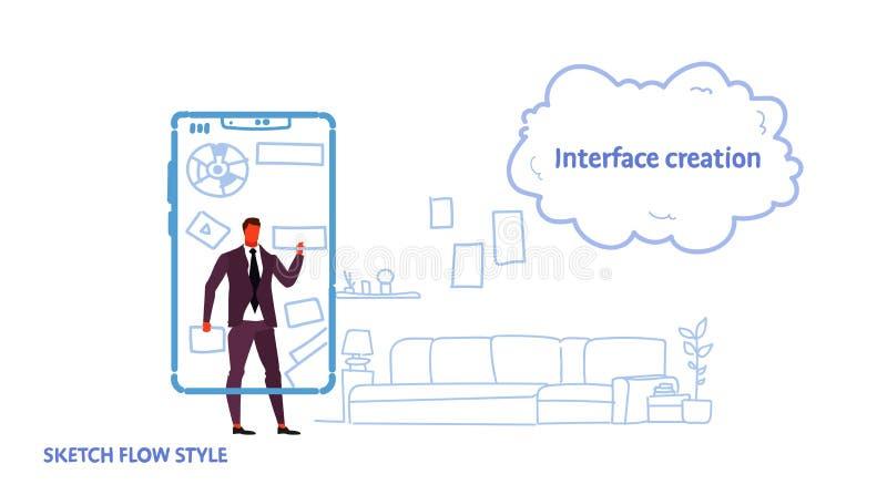 使用流动应用接口创作发展概念商人的商人开发商接触智能手机 皇族释放例证