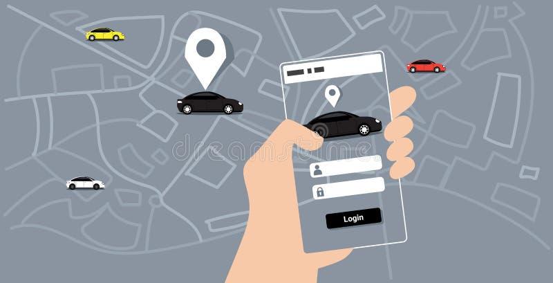 使用流动应用程序在线排序出租汽车汽车分享概念智能手机屏幕城市地图运输的人的手 向量例证