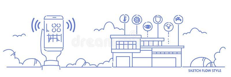 使用流动应用聪明的房子系统控制接口现代房子自动化数字技术概念的手 向量例证