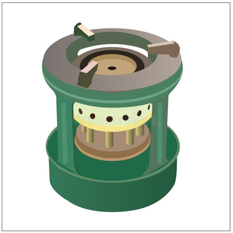 使用煤油的传染媒介火炉烹调的 库存例证