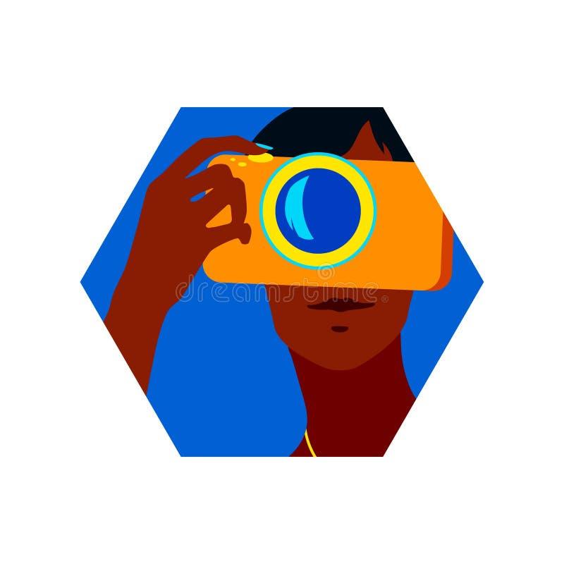 使用照相机的美丽的年轻女人画象拍照片 六角形传染媒介现代例证,夏时设计元素, 向量例证