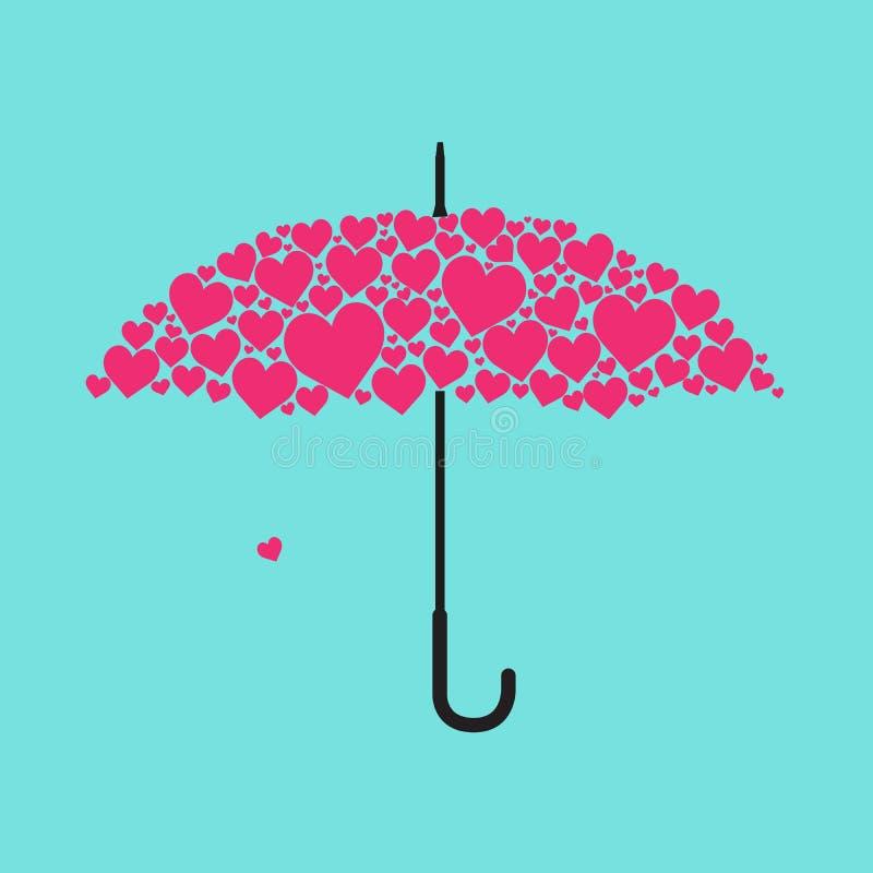 使用爱形状形成伞 免版税库存照片