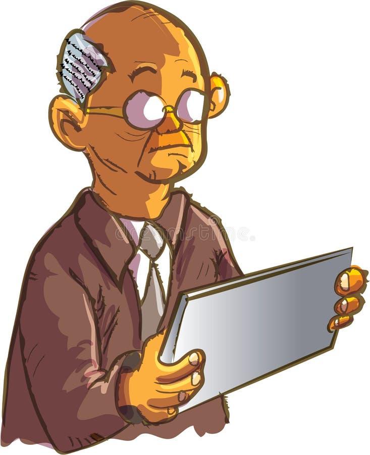 使用片剂的动画片老人 向量例证