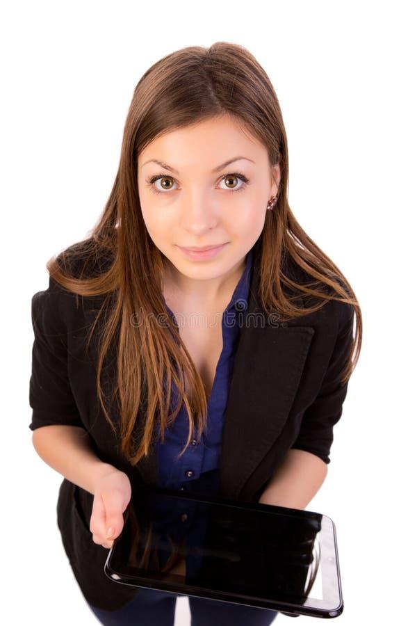 使用片剂计算机或iPad的妇女 库存图片