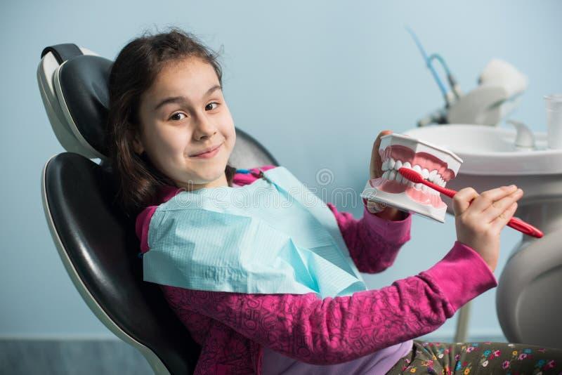 使用牙齿下颌模型和牙刷,牙医的微笑的女孩主持显示适当牙掠过 库存照片