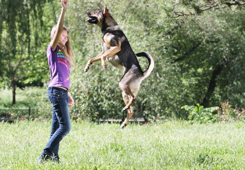 使用狗的女孩户外 库存图片