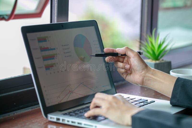 使用现代膝上型计算机的女商人有图表的 交易起步 分析战略概念 免版税库存照片