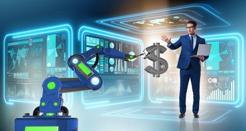 使用现代技术的货币贸易商 免版税图库摄影