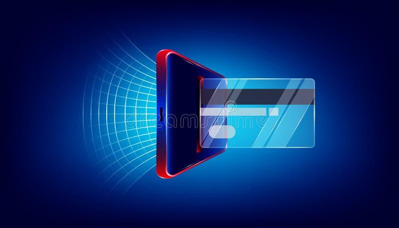 使用玻璃信用卡通过您的企业行销的豪华智能手机或买什么是您要 E ?? 库存例证
