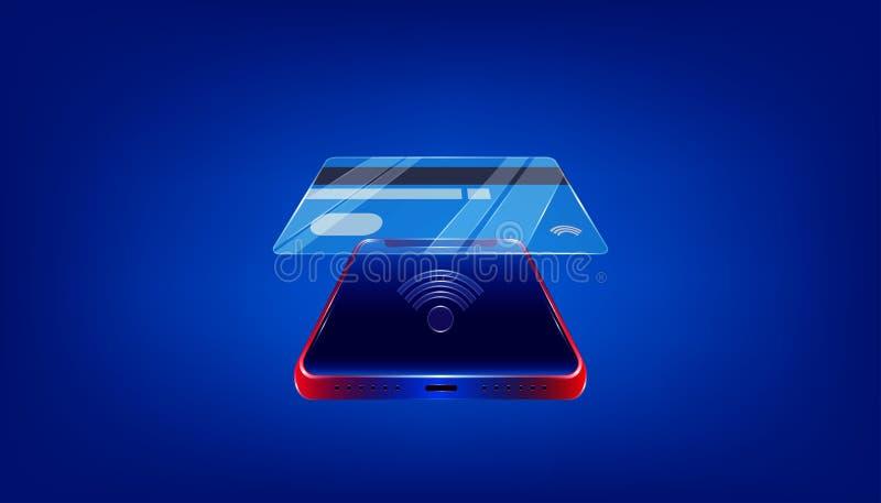 使用玻璃nfc信用卡通过您的企业行销的豪华智能手机或买什么是您要 r ?? 皇族释放例证
