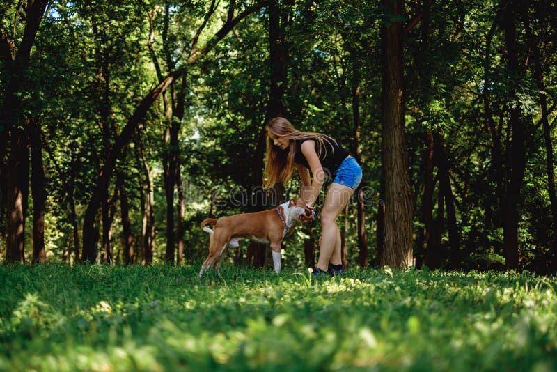 使用用一根棍子和她的狗的女孩在公园 免版税图库摄影