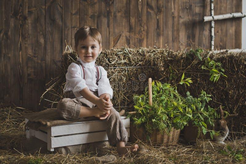 使用用兔子6045的一个小男孩的画象 免版税库存照片