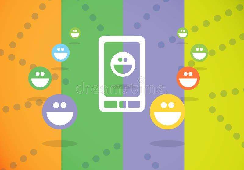 使用电视电话会议的意思号与顾客 向量例证